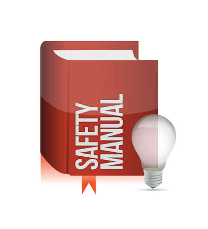assure: safety manual book illustration design over a white background