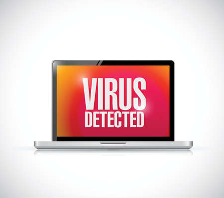 detected: virus detected computer sign illustration design over a white background Illustration