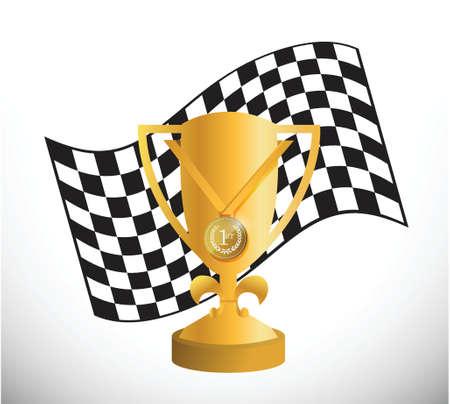 checker flag: bandera corrector y dise�o ilustraci�n trofeo sobre un fondo blanco