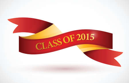 red class of 2015 ribbon banner illustration design over a white background Vector