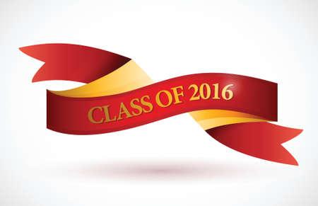 rote Klasse von 2016 Farbband Banner, Illustration, Design über einem weißen Hintergrund