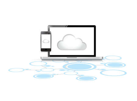 cloud computing computer link network illustration design over a white background