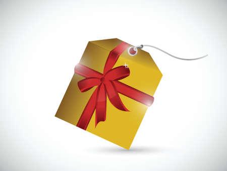 proposition: gold gift present tag illustration design over a white background