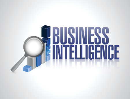 business intelligence graph sign illustration design over a white background