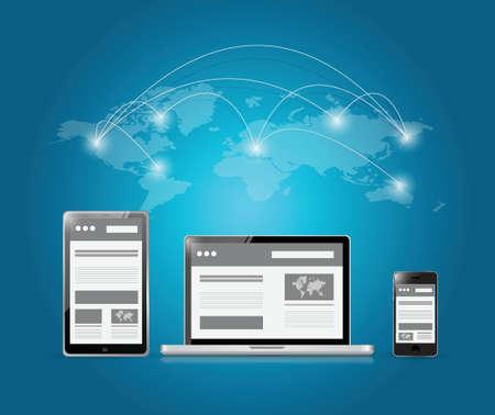 web platforms and world connection illustration design over a blue background Vector