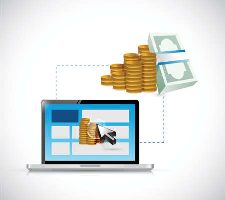 money online: make money online. web profits guide. illustration design over a white background Illustration