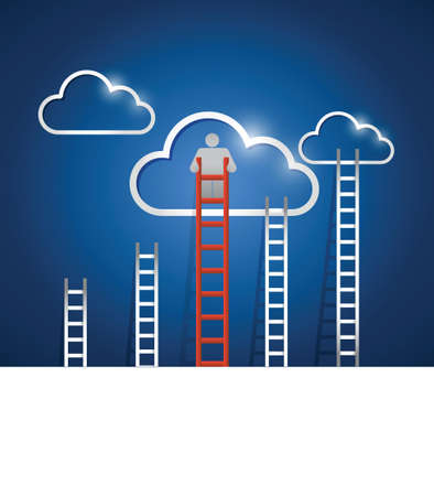 clouds and ladders. red. illustration design over a white background Çizim