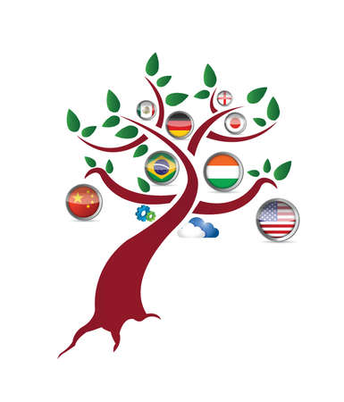 international flag tree illustration design over a white background