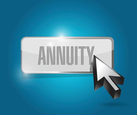 annuity: annuity button and cursor illustration design over a blue background