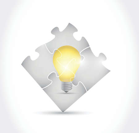 puzzle and light bulb illustration design over a white background Stock Illustratie