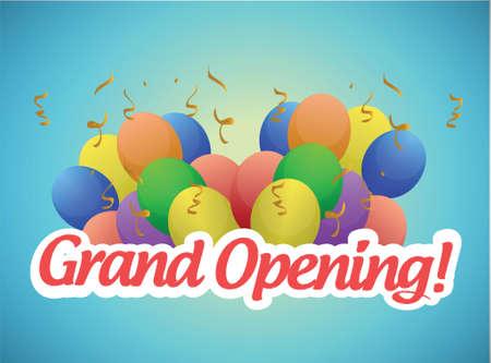 Eröffnung Zeichen und Luftballons Illustration, Design in einem hellblauen Hintergrund