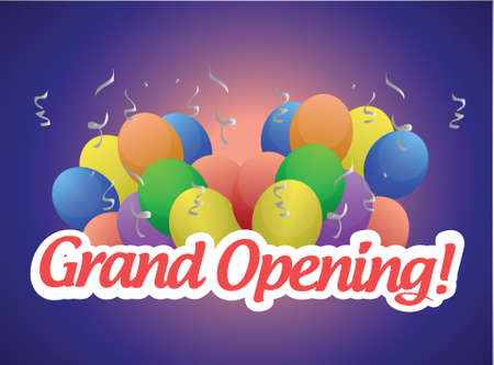 beginnings: grand opening sign and balloons illustration design over a blue background Illustration