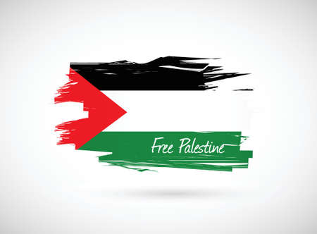 bombings: free palestine paint flag illustration design over a white background Illustration