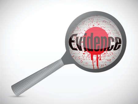 forensic science: magnify evidence blood illustration design over a white background