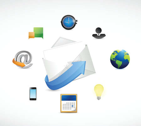 customer service phone: email marketing icons illustration design over a white background Illustration
