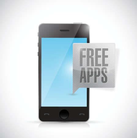 mobile device: phone free apps message illustration design over a white background