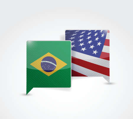brazil and us communication illustration design over a white background Иллюстрация