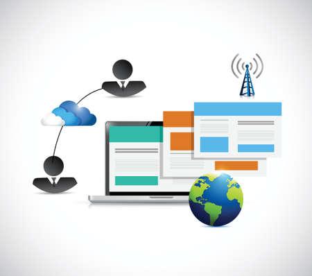 web browser: laptop web browser communication connection illustration design over a white background Illustration