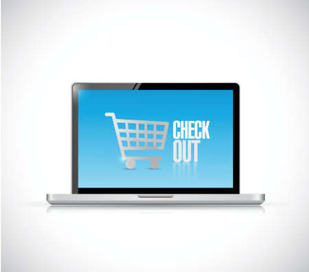 check out: laptop check out sign illustration design over a white background
