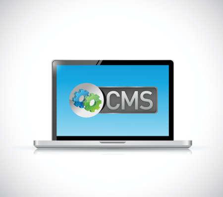 cms: cms sign laptop illustration design over a white background