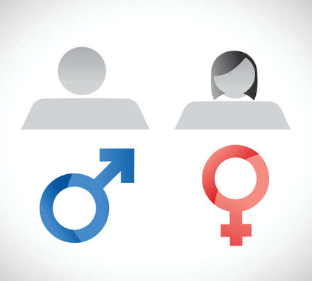genders: male and female symbols illustration design over a white background