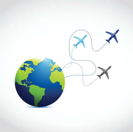 international globe and airplane routes illustration design over a white background