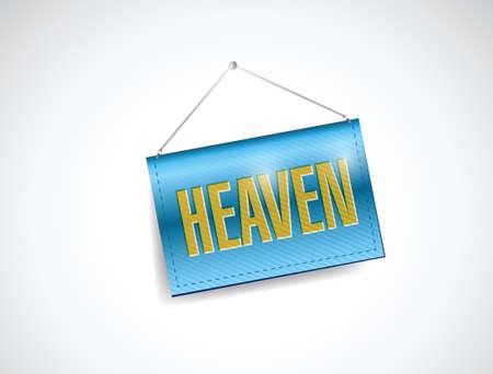 heaven: heaven hanging banner illustration design over a white background Illustration
