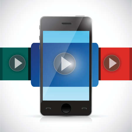 phone video display illustration design over a white background