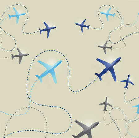 divert: set of airplane routes illustration design background