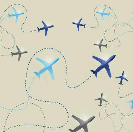 set of airplane routes illustration design background