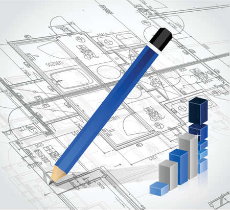 drafting tools: business blueprints illustration design over a white background