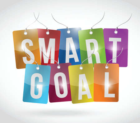 strategically: smart goal tags illustration design over a white background