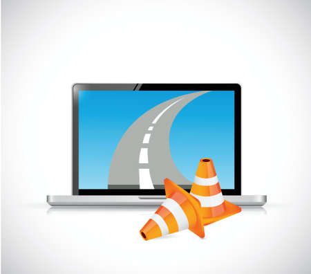 computer repair concept: laptop and internet road illustration design over a white background