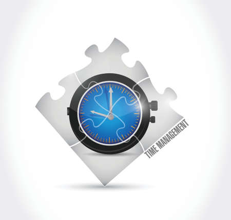 delegate: time management puzzle illustration design over a white background
