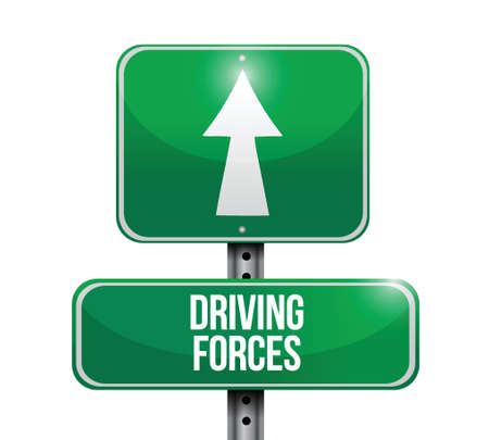 opposing: driving forces street sign illustration design over a white background