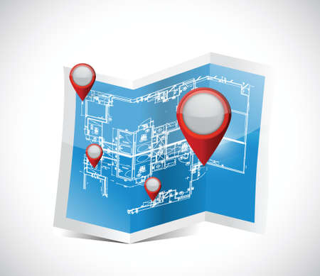 lookup: locator pointers blueprint illustration design over a white background