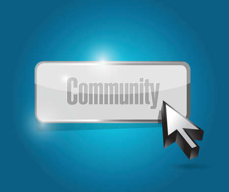 community button illustration design over a blue background