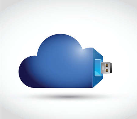 usb various: cloud and usb cable connection illustration design over a white background