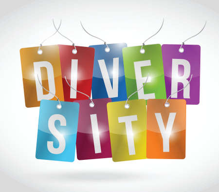 diversity tags illustration design over a white background