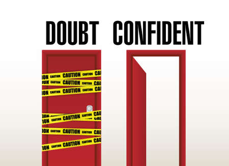 decide: doubt and confident doors illustration design over a white background