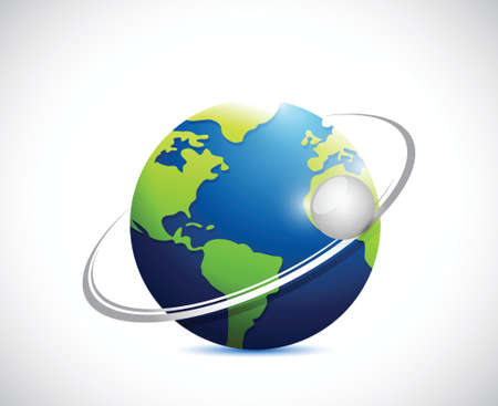 globe and turning sphere illustration design over a white background
