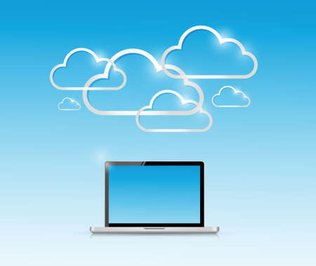 laptop and computer cloud connection illustration design over a white background Vector