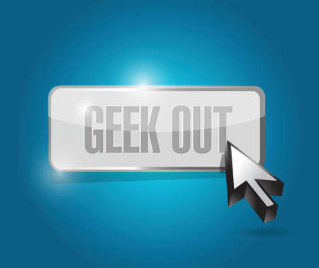 geek out button illustration design over a blue background 向量圖像