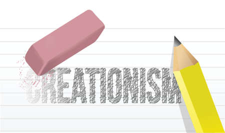 creationism eraser illustration design over a white background Vector