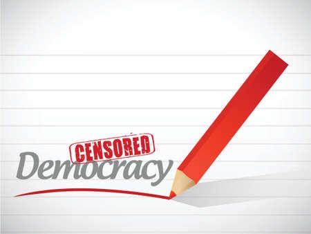 censored: censored democracy sign illustration design over a white background Illustration