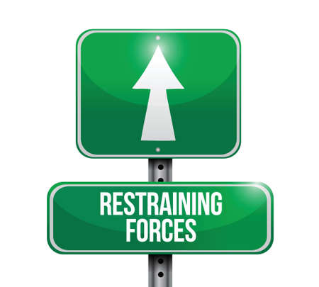 hindering: restraining forces street sign illustration design over a white background Illustration