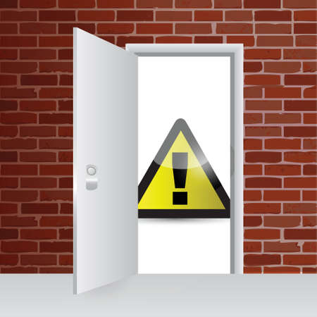 warning sign and open door illustration design over a brick wall background