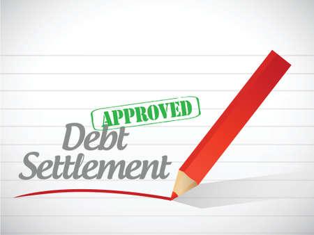 settlements: approved debt settlement message illustration design over a white background
