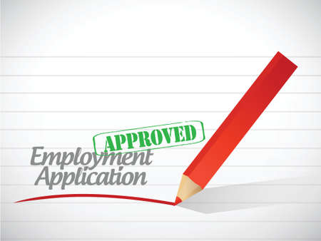 hire: approved employment application illustration design over a white background