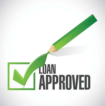 borrowing money: load approved check mark illustration design over a white background
